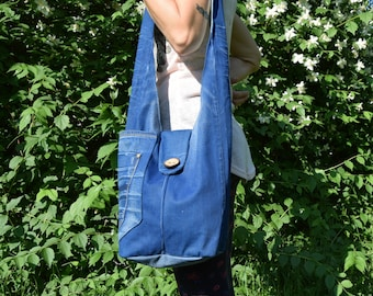 Denim Hobo bag / Blue denim handbag / Recycled Hobo bag / Shoulder Bag / Large Denim Bag