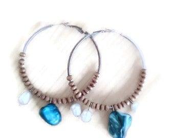 Boho silver 925 hoops/hippie hoops/hippie hoop earrings/boho hoop earrings/hoop earrings/bohemian earrings/boho blue stone/hippie hoops