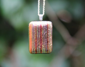 Orange and gold striped dichroic  glass pendant ,  dichroic glass necklace, striped dichroic necklace, striped pendant, birthday gift
