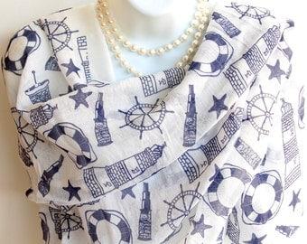 Nautical Print Long Scarf.Blue & White Nautical Scarves.Lighthouse Scarf.Sailing Scarf. Beach Scarf.Summer Scarf.Spring Scarf.Summer Scarves