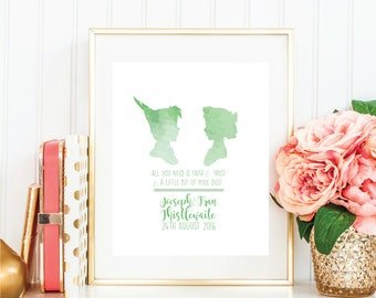 Disney Peter Pan Water Colour Wedding or Anniversary Print