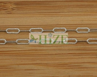 """HIZE CH064 925 Sterling Silver Oxidized Chain by Foot Textured Cable Link Bead Finding 2mm - 24"""""""