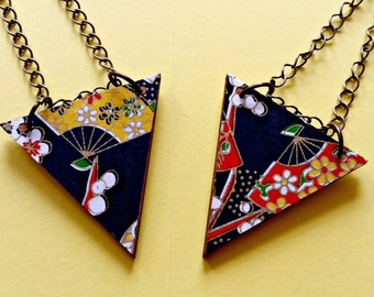 Origami pendant, triangle statement necklace, Chinese jewellery, Chinoiserie, paper craft, unique jewelry, black and gold