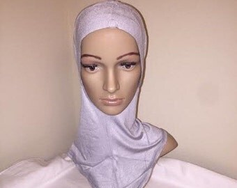 Light Gray Cotton Jersey Ninja slip on Hijab Scarf