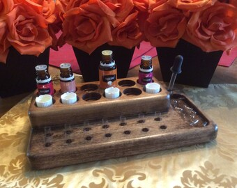 Essential oil capsule filling station / capsule holder, 12 EO bottle & 14 capsule display stand, 4 color choices!
