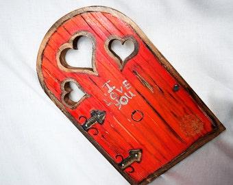RED I LOVE YOU  heart Fairy door handmade garden forest or home decor