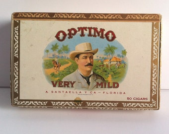 Vintage Optimo Cigar Box, Panetela, A Santaella & Co  Florida