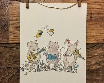 Animal Musicians - Original Watercolor Illustration || Print