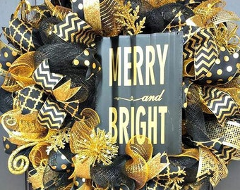 READY TO SHIP Black and Gold Christmas Wreath - Black and Gold Wreath- Christmas Wreath - Holiday Wreath
