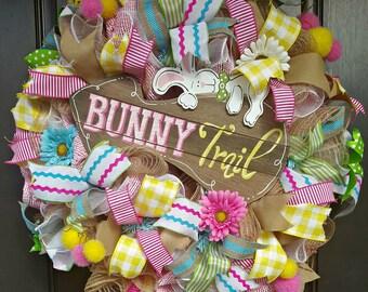 Ready to Ship Easter Wreath - Spring Wreath - Easter Bunny Wreath -