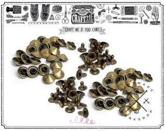 100PCS 7MM ANTIQUE BRASS CONICAL round Rivets Rapid Snap.