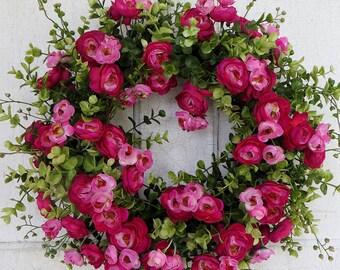 Gorgeous Pink Ranunculus, Summer wreath, Spring wreath, Front door wreath, Mother's Day wreath