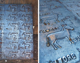 Brown's Mule Tobacco Mold // Industrial Decor