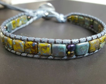 Tila bead bracelet in grey/blue/green with silver color button clasp