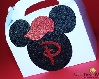 12 Black And Red Mickey Mouse Party Favor Boxes. Customize Colors To Fit Your Theme