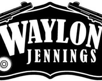 Waylon Jennings Guns Decal Vinyl Sticker 2 Stickers 9 inches wide