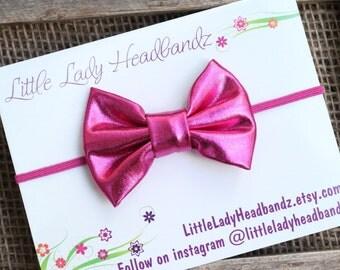 Shiny hot pink bow headband Valentine's day headband magenta fuschia, hair clip, soft shiny bow headband - toddler hair clip girl hair bow