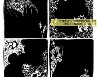 Gothic frames. borders, art, frames.  Aubrey Beardsley. Vintage Clip art, Scrapbooking, Clipart, Salome Victorian Wedding Halloween