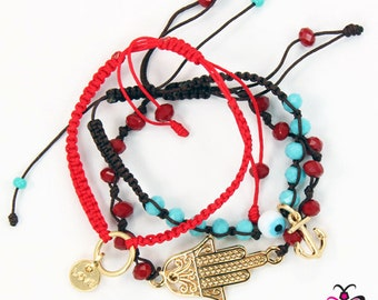 Love/Hamsa/Anchor Bracelet Trio