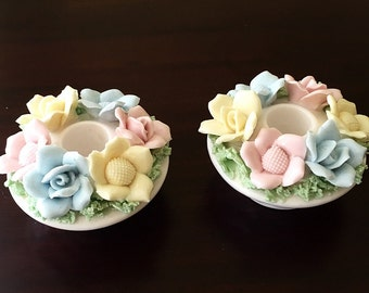 Easter Spring 1940s Taper Candle Holders