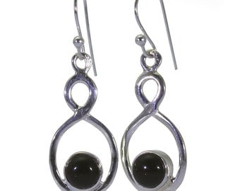 Black Onyx Earrings, 925 Sterling Silver, Unique only 1 piece available! color black, weight 2.9g, #40362