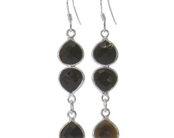Black Onyx Earrings, 925 Sterling Silver, Unique only 1 piece available! color black, weight 3g, #40832