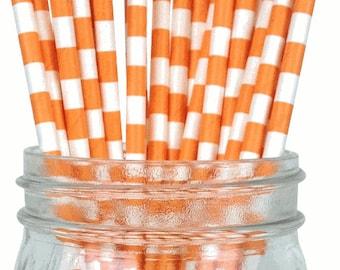 Rugby Stripe Party Paper Straws Orange