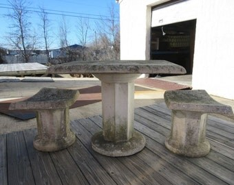 Vintage Mid Century Concrete Garden Patio French Regency Dining Table 2 Benches