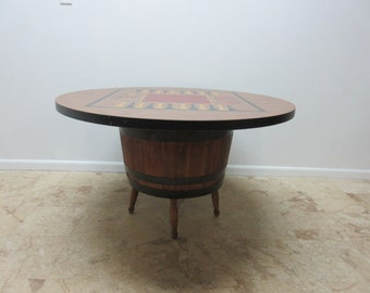 Vintage Low Barrel Keg Game Dining Table