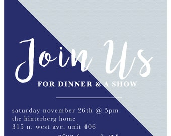 Dinner Party Invitations, DIY invitations, Rehearsal Dinner Invites, Dinner and movie, Dinner and show, Party Invites, Fall Party, Winter
