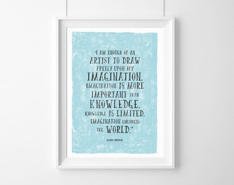 Poster Albert Einstein,Imagination is more important than knowledge. HomeDecor,Quote,Inspirational,Gift,Typography Poster,Einstein quote