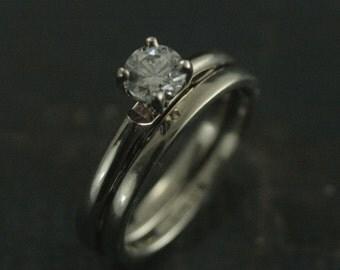 14K White Gold Lace Engagement Set--4 Prong Setting--Wedding Set--Moissanite--White Topaz--White Sapphire--Cubic Zirconia--Choose Your Stone
