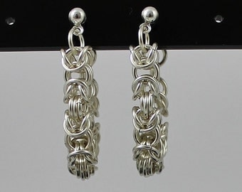 Silver Plated Chainmaille Earrings, Silver Earrings, Byzantine Earrings, Loose Hoop Earrings, Chain mail Jewellery