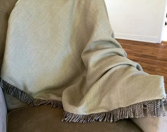 Khaki Linen Luxury Throw Blanket