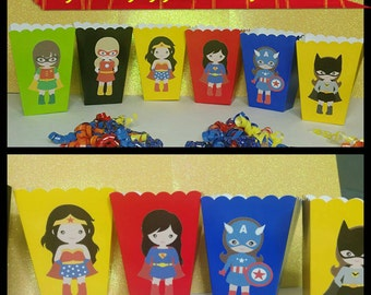 10 Girl Superhero Themed Snack/Favor Boxes, Batgirl and Supergirl Popcorn Box, Superhero Favors