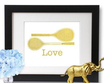 Tennis Racket, Gold Foil Print, Tennis Gift, Sports Decor, tennis art, tennis print