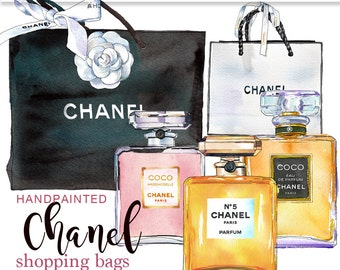 Chanel perfume clip art commercial use watercolor digital clip art Chanel digital images commercial clipart instant download