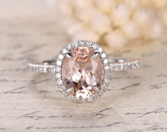 6x8m Oval Cut Morganite Engagement Ring,14K White Gold Engagement Wedding Ring,Diamonds Halo,7x9mm Peachy Pink Morganite available