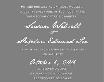 Romantic fonts Wedding Invitation pack of 50