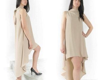 Asymmetric Dress / Summer Dress /  Extravagant Dress / Womens Dresses / Comfortable dress / Tunic Dress / Handmade Dress / Beige Dress
