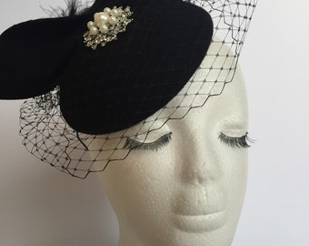Black wool fascinator