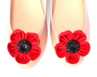 red flowers with shimmering embellishment shoe clips