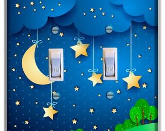 Light Switch Cover Moon Stars Decor Kid Room Nursery Decor Baby Boy Girl Nursery Decoration