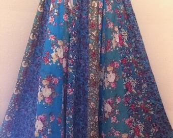 vintage floral boho hippie flowy festival maxi skirt