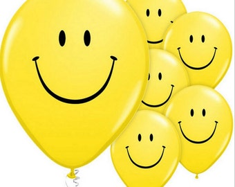 8 smiley face Yellow Birthday Balloons Party shower decorations 11 inch Balloon
