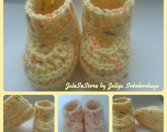 Baby booties. Booties for the newborn (0-1 months). Booties handmade. Crochet baby booties.