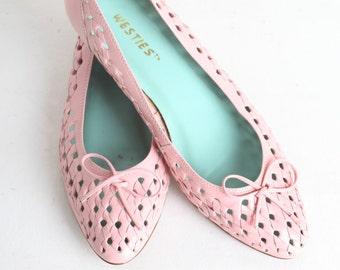 Vintage Women's Size 9 Pink  Leather Ballet Flats