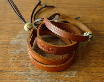 SCKLeather Handmade Leather Mellon Bead Bracelet