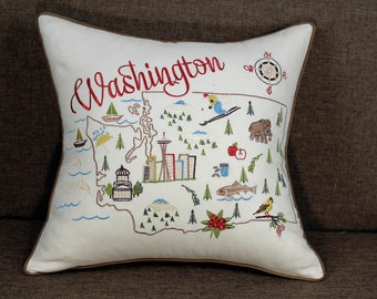 "Washington State Embroidered Pillow/Cushion Cover Decorative Pillow Cover ,18""x18"""