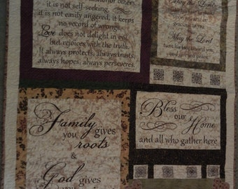 """LAP QUILT -Inspirational Sayings-Beige, Brown, Green, Eggplant- 100% Cotton-Approximately 52"""" x 39"""""""